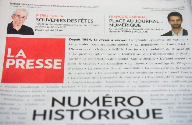 A copy of French language newspaper La Presse's final print edition is shown in Montreal, Dec. 30,