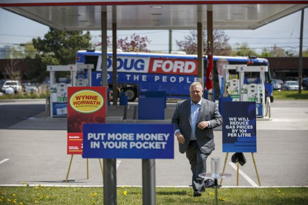 Doug Ford, then Progressive Conservative Party candidate for Ontario premier, arrives for a press conference...