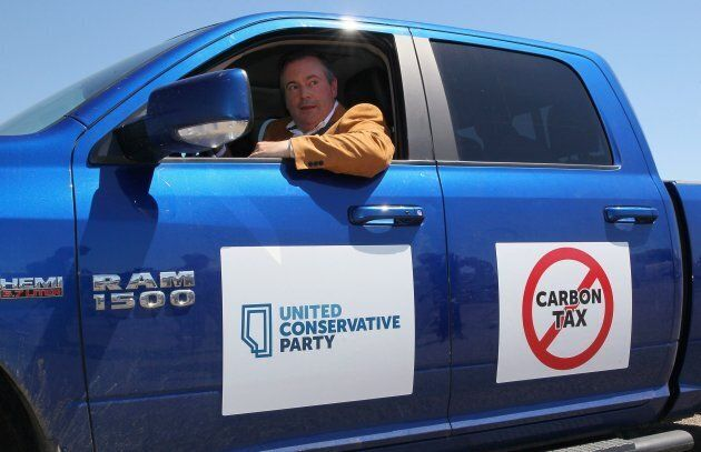 United Conservative Leader Jason Kenney drives his truck after meeting with reporters at the Blackfoot...