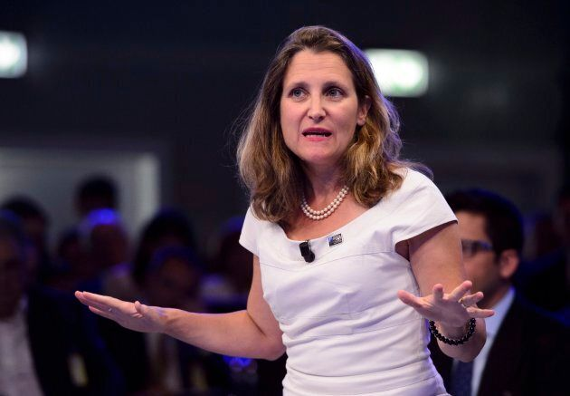 Minister of Foreign Affairs Chrystia Freeland takes part in a NATO Engages Armchair Discussion at the NATO Summit in Brussels, Belgium on July 11, 2018.
