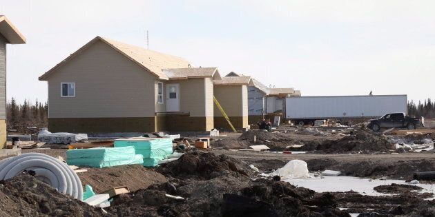Housing under construction is seen in Fort Severn, Ontario's most northerly community on April 26,