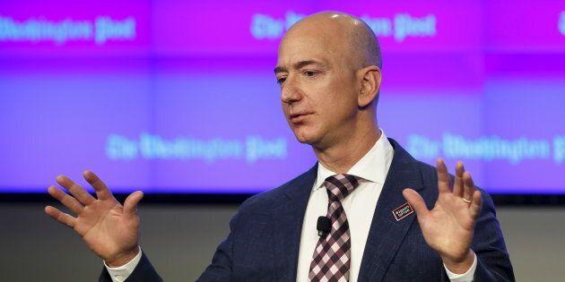 Jeff Bezos delivers remarks at the grand opening of the Washington Post newsroom, Washington, D.C., Jan....