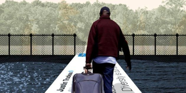 The Conservative party deleted an attack ad depicting a black migrant entering Canada through a broken...