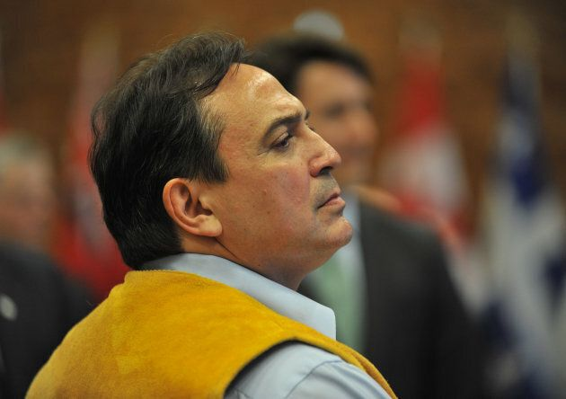 AFN National Chief Perry Bellegarde attends a First Ministers Meeting in Vancouver. / AFP / Don MacKinnon...