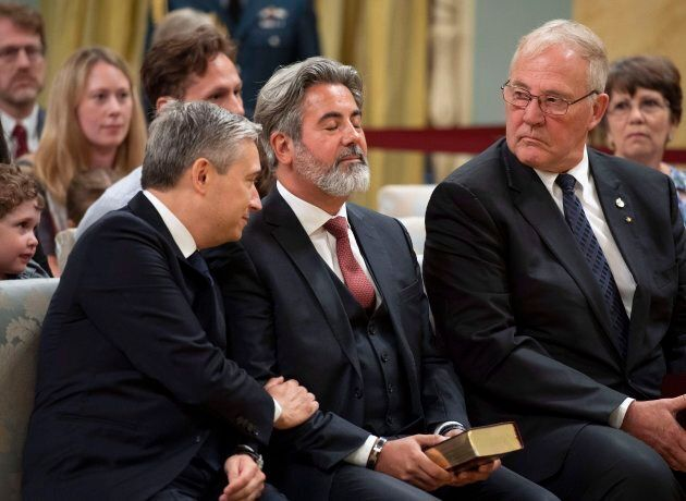 Liberal MPs Francois-Philippe Champagne, Pablo Rodriguez and Bill Blair are seen at a swearing-in ceremony...
