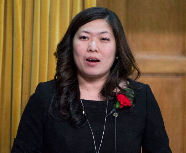 Newly-elected Liberal MP Mary Ng rises to ask a question during her first Question Period in the House of Commons on May 3, 2017 in Ottawa.
