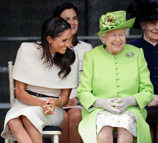 Meghan, Duchess of Sussex and Queen Elizabeth II attend a ceremony to open the new Mersey Gateway Bridge in Widnes, England on June 14, 2018.