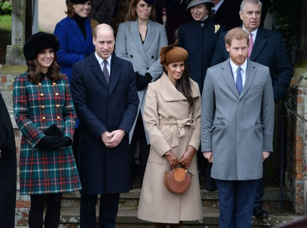 The Duke and Duchess of Cambridge, Meghan Markle and Prince Harry leave the Christmas Day morning church service at St. Mary Magdalene Church in Sandringham, Norfolk in December.