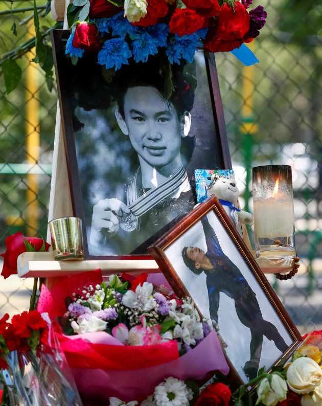 A makeshift memorial for Denis Ten in Almaty, Kazakhstan, July 20,