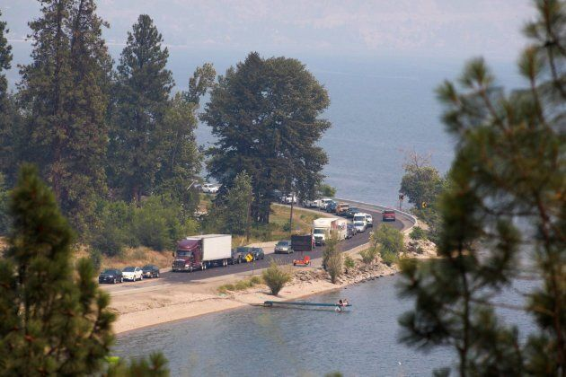 Traffic is stopped along shore line of Highway 97 heading towards Summerland, B.C. on