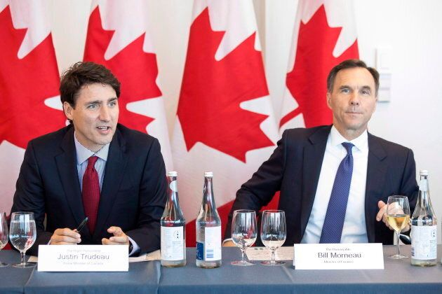 Justin Trudeauwith Federal Finance Minister Bill Morneau at the Canadian Transformational Infrastructure...
