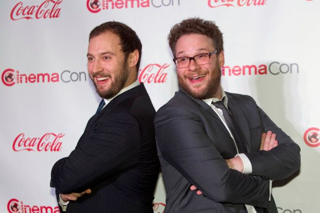 Evan Goldberg (L) and Seth Rogen arrive for the Big Screen Achievement Awards during CinemaCon at Caesars Palace in Las Vegas, Nevada on March 27, 2014.