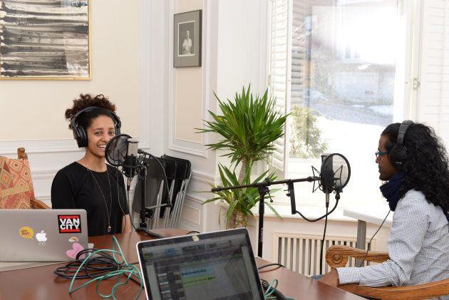Co-host Daniella Barreto recording an episode for the podcast.