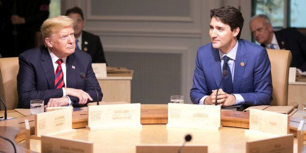 Prime Minister Justin Trudeau and U.S. President Donald Trump participate in the working session at the...