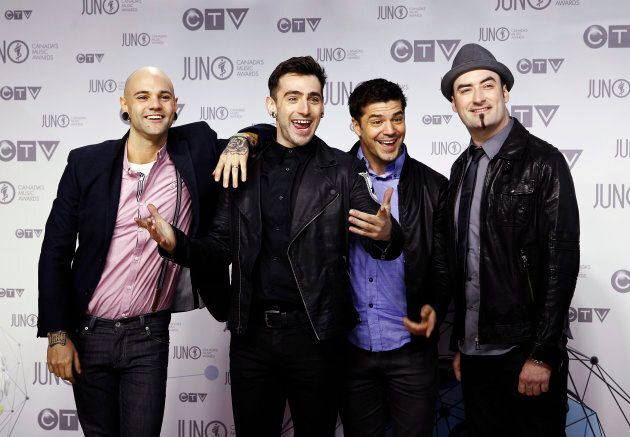 Members of the band Hedley pose on the red carpet during the Juno Awards in Ottawa April 1,