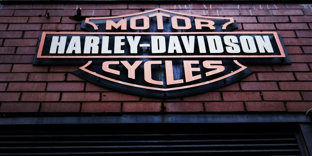 The Harley Davidson logo is displayed on a building at the New York store March 8, 2018 in New York City....