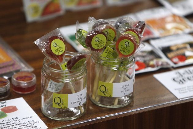Edibles are displayed at Shango Cannabis shop in Portland, Oregon, Oct. 1,