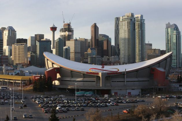 A view of the exterior of the Scotiabank Saddledome on February 25, 2016 in Calgary,