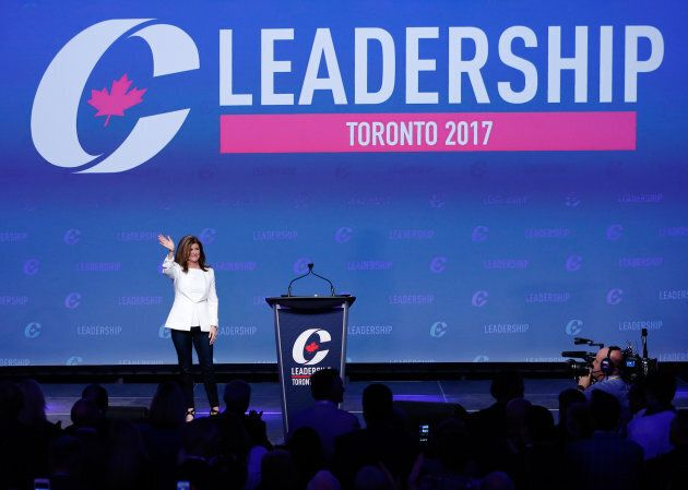 Rona Ambrose arrives on stage during the Conservative Party of Canada leadership convention in Toronto,...
