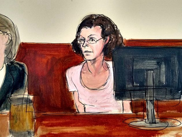 In this courtroom drawing, Clare Bronfman, is arraigned at federal court in New York, Tuesday, July 24,