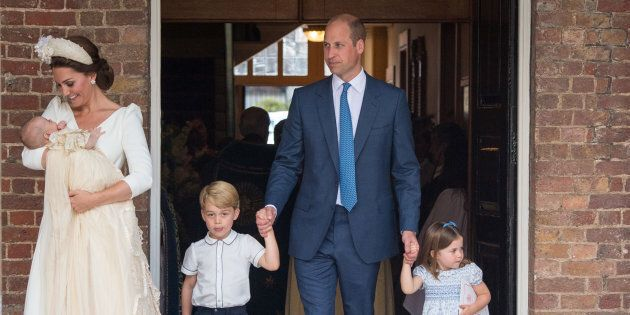 The Duke and Duchess of Cambridge with their children Prince George, Princess Charlotte and Prince Louis after Prince Louis's christening at St. James's Palace, London, Britain, July 9, 2018.