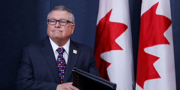 Public Safety Minister Ralph Goodale arrives at a news conference in Ottawa on June 20, 2017.