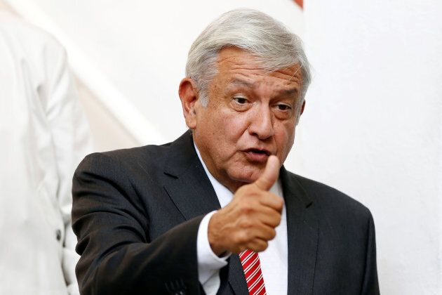 Mexico's president-elect Andres Manuel Lopez Obrador gestures during a news conference at his campaign...