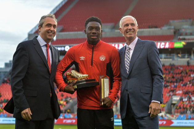 Alphonso Davies awards and the 2016 Canadian U-17 Player of the Year award before the Canada-Jamaica...