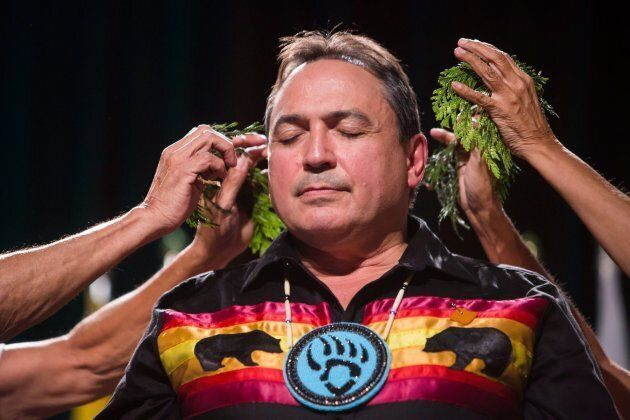 Perry Bellegarde is sworn in after being re-elected as the National Chief of the Assembly of First Nations...
