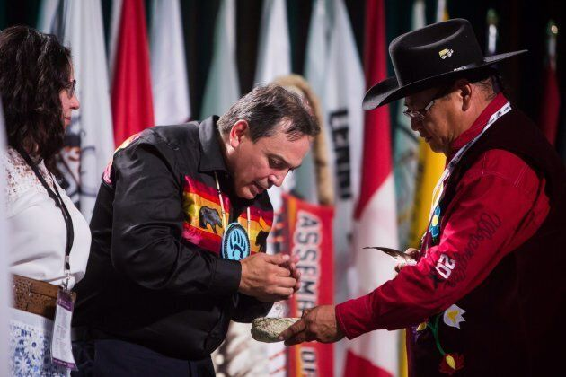 Perry Bellegarde is sworn in after being re-elected as the National Chief of the Assembly of First