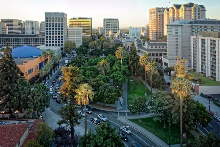 The historic Plaza de Cesar Chavez in San Jose, Calif. The city is the heart of Silicon Valley.