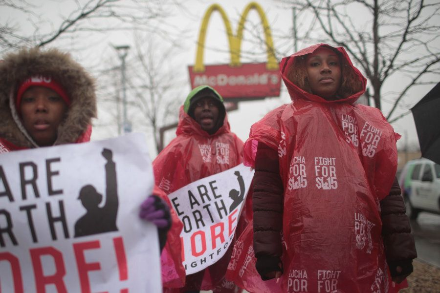 McDonald's workers protest outside of a company-owned restaurant on April 3, 2018 in Chicago, Ill. Employees...