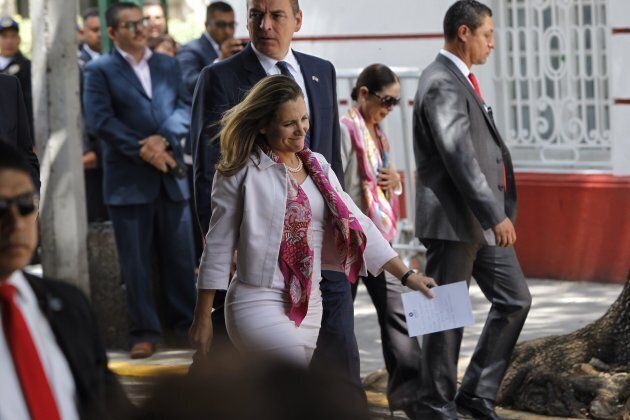 Canadian Foreign Minister Chrystia Freeland, centre, and her delegation leave a private meeting with...
