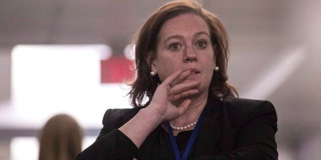 PC MPP Lisa MacLeod stands in a hallway during confusion about the result at the Ontario PC Leadership...