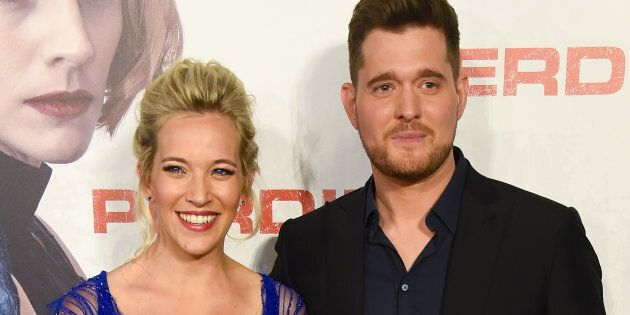 Luisana Lopilato and Michael Buble attend the premiere of 'Perdidas' at the Hoyts Dot Cinemas on April 16, 2018 in Buenos Aires, Argentina.