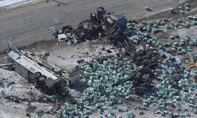 The wreckage of a fatal crash outside of Tisdale, Sask., is seen on April, 7,