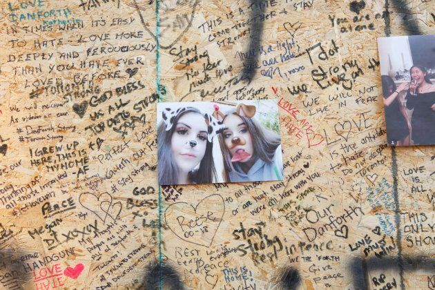 A memorial for shooting victim Reese Fallon is seen on Danforth Avenue in Toronto on