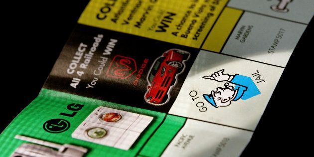 Part of a McDonald's Monopoly game board is seen Oct. 5, 2005 in Des Plaines, Illinois.