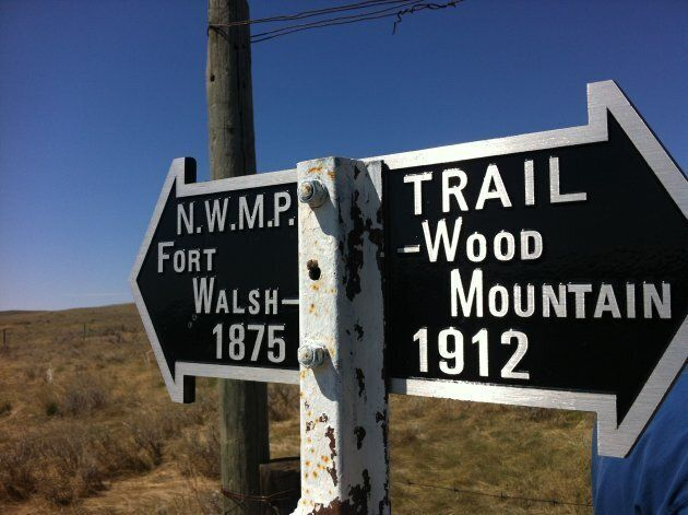 The NWMP sign at Chimney Coulee,