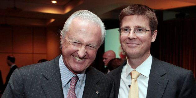 Galen G. Weston stands with his father W. Galen Weston, left, after the Loblaw annual general meeting...