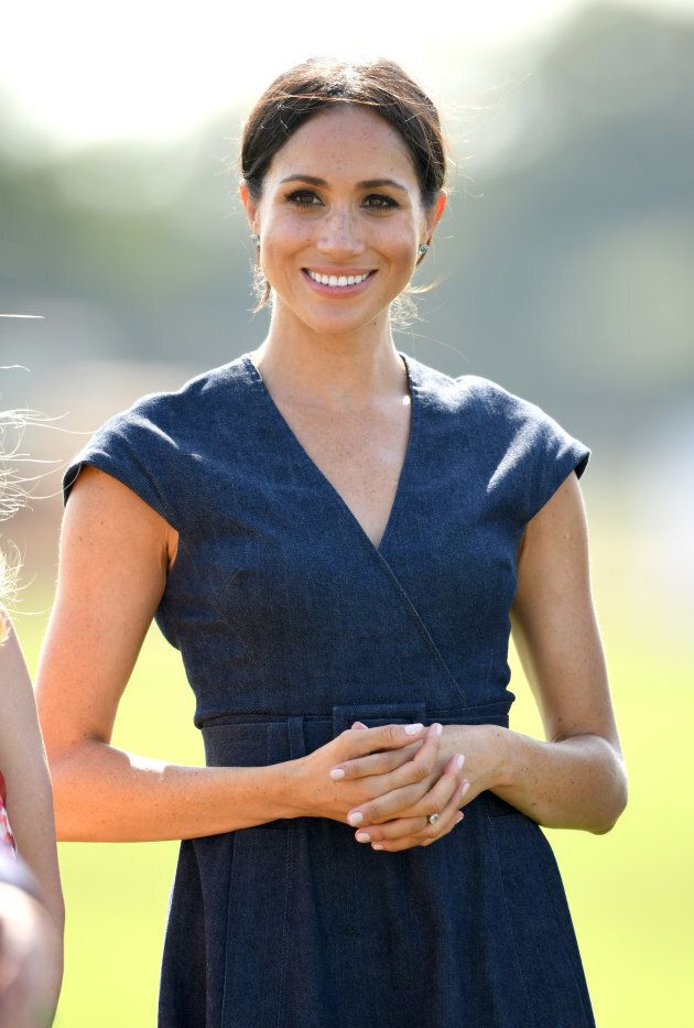 The Duchess of Sussex attends the Sentebale ISPS Handa Polo Cup in Windsor, England on July 26,