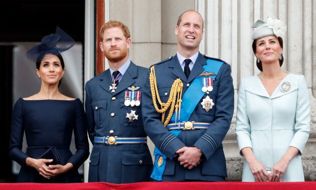 The Fab Four stand on the balcony of Buckingham Palace at the RAF centenary on July 10, 2018 in London,