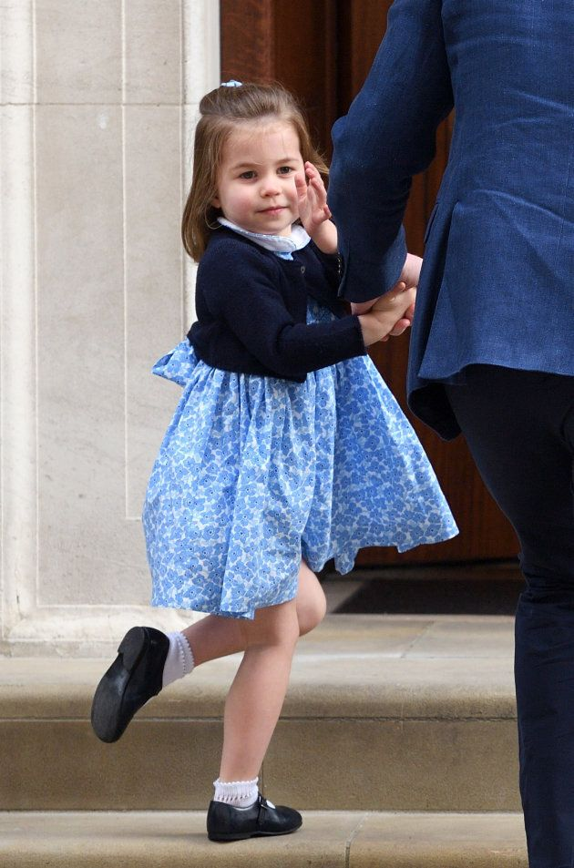Princess Charlotte arrives with Prince George and Prince William at the Lindo Wing of St Mary's Hospital...