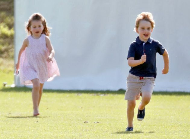 Prince George and Princess Charlotte attend the Maserati Royal Charity Polo Trophy on June 10, 2018 in...