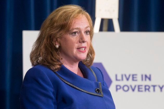 Lisa MacLeod, Ontario's Children, Community and Social Services Minister makes an announcement on welfare rates at the Ontario Legislature in Toronto on Tuesday.