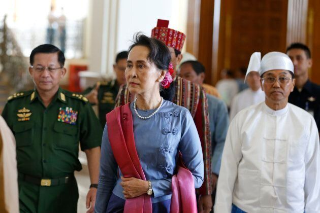 Aung San Suu Kyi attends the Speaker of Union Parliament changing ceremony in Naypyitaw, Myanmar, on...