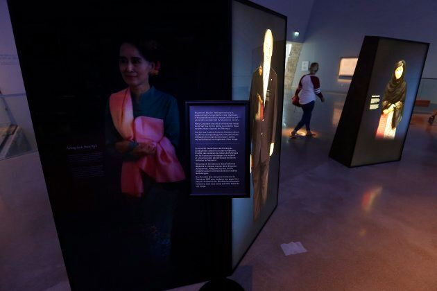 The Canadian Museum of Human Rights has dimmed the portrait of Aung San Suu Kyi in Winnipeg, Manitoba...