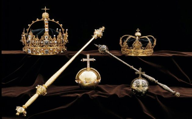 A collection of Swedish crown jewels. Thieves stole the priceless gems, some dating back to the early...