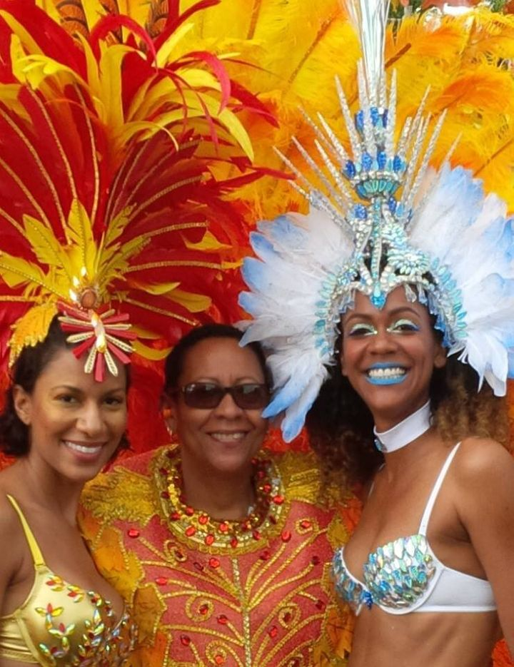 Families who play mas together, jump up together! The Crichton women at Carnival.