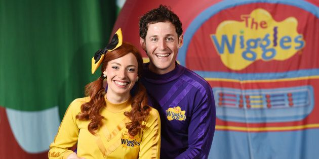 Emma Watkins and Lachlan Gillespie from children's band 'The Wiggles' pose between shows at the Golden...